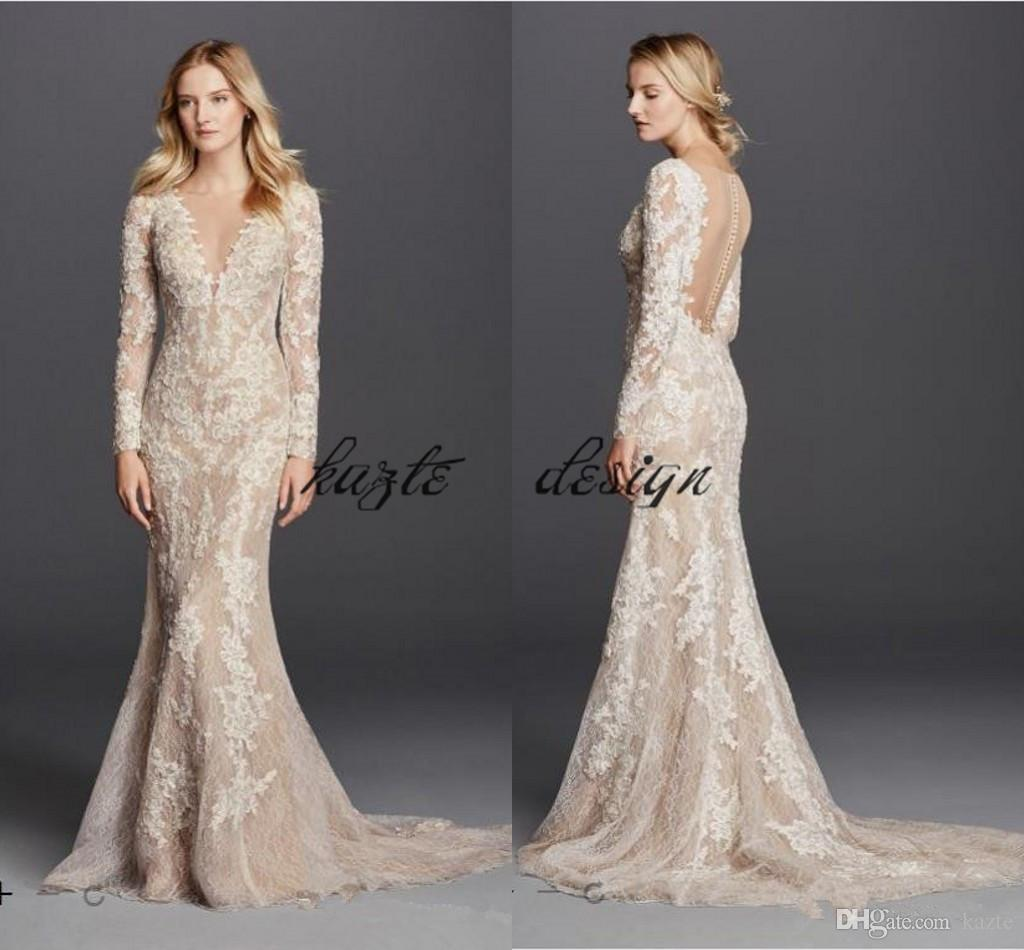 Sexy Mermaid Champagne Wedding Dresses 2018 Long Sleeve V Neck Full Lace Detail and Button Back Modest Bridal Gowns
