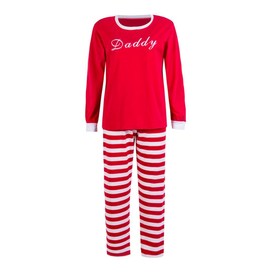 876bfb12ae Family Matching Christmas Red Striped Long Sleeve Pajamas Set Mommy Daddy  Kids Xmas New Year Sleepwear Nightwear Outfits Male And Female Matching  Outfits ...