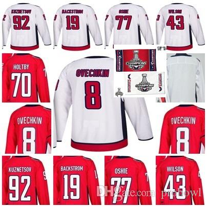 b094bc7b7 2019 2018 Stanley Cup Final Champion 43 Wilson Capitals 8 Alex Ovechkin  T.J. Oshie Nicklas Backstrom Braden Holtby Evgeny Kuznetsov Hockey Jersey  From ...