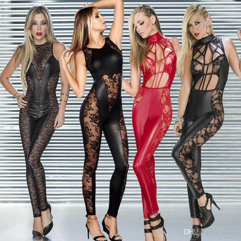 Hot and sexy queen hollowed-out sexy lingerie cross strip jumpsuit jacquard jumpsuit fun and patent leather