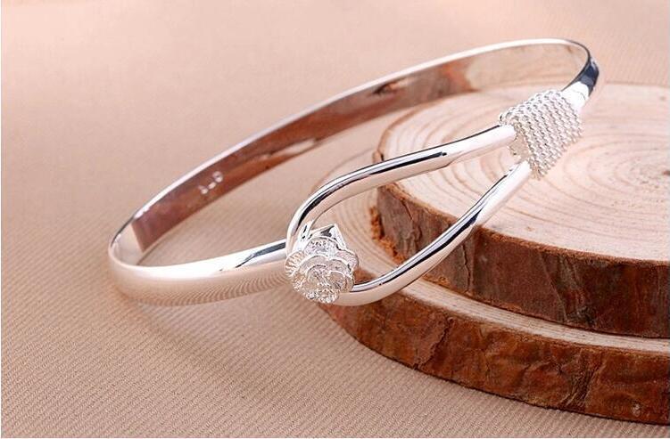 Charme Bangle Rose Armbänder 925 Sterling Silber Rose Blume Manschette Armband Mode Armreif Für Frauen Schmuck