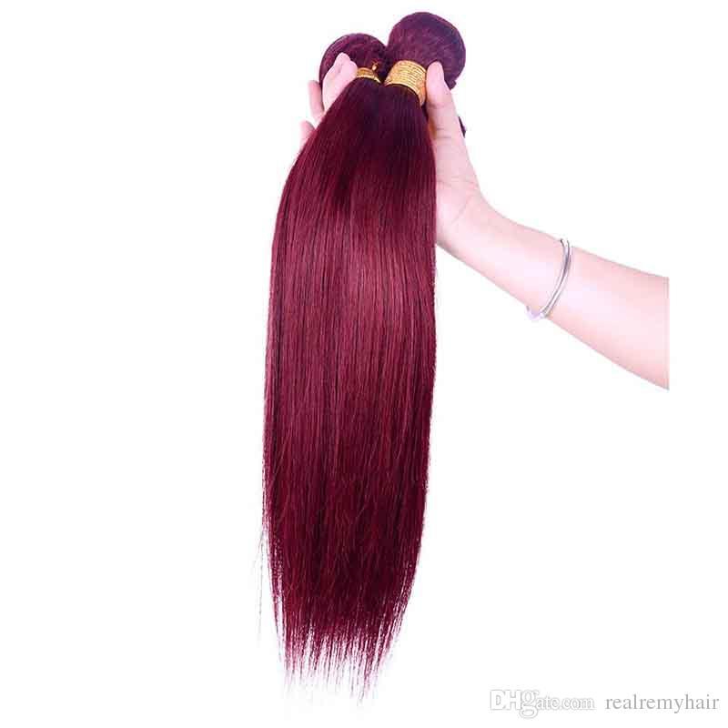 브라질 부르고뉴 인간의 머리 4 번들 컬러 브라질 99 개 # 와인 레드 버진 헤어 위브 도매 브라질 인간의 머리 확장