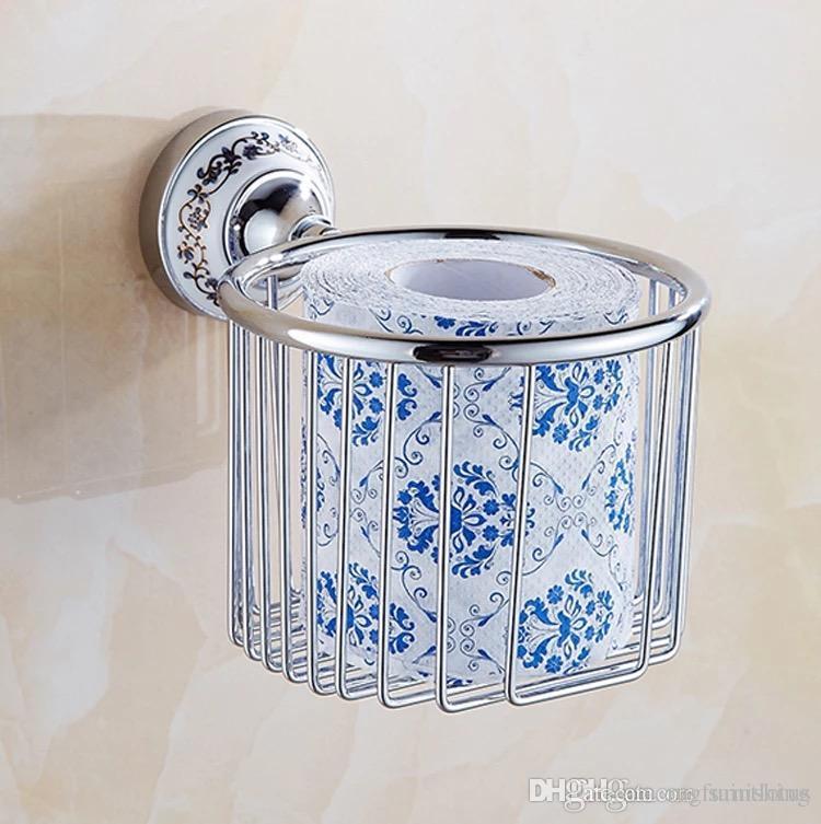 Grosshandel Papierhalter Messing Chrom Toilettenpapier Korb