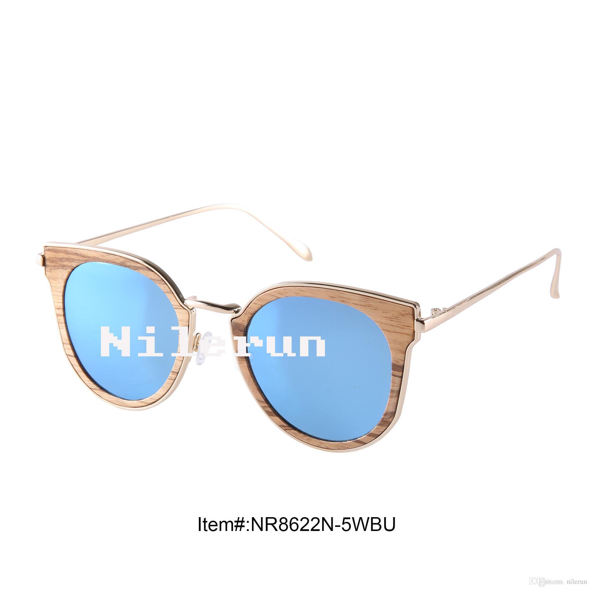 908ce2724f3 Nilerun Brand Mirror Blue Polarized Cat Eye Round Shape Zebra Wood Gold  Stainless Steel Metal Sunglasses Metal Sunglasses Blue Polarized Lenses  Zebra Wood ...