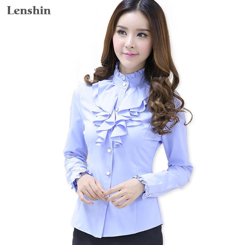 85e6c1a754 Compre Lenshin Blusa Azul Estilo De Moda Femenina Camisa Casual Elegante  Con Volantes Cuello De Oficina Señora Tops De Las Mujeres Usan Venta  Caliente A ...
