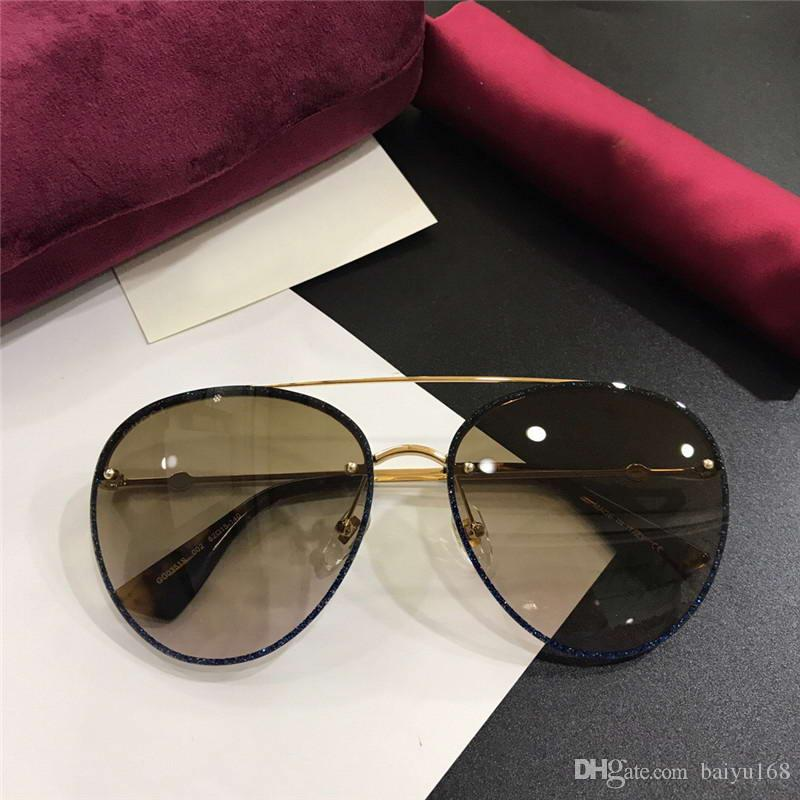91f62c6fd6e1d8 0351S Pilot Sunglasses Gold Blue Glitter Brown Lens 62mm Sonnenbrille  Designer Glasses Shades Havana Sunglasses Des Lunettes De Soleil New Mens  Sunglasses ...
