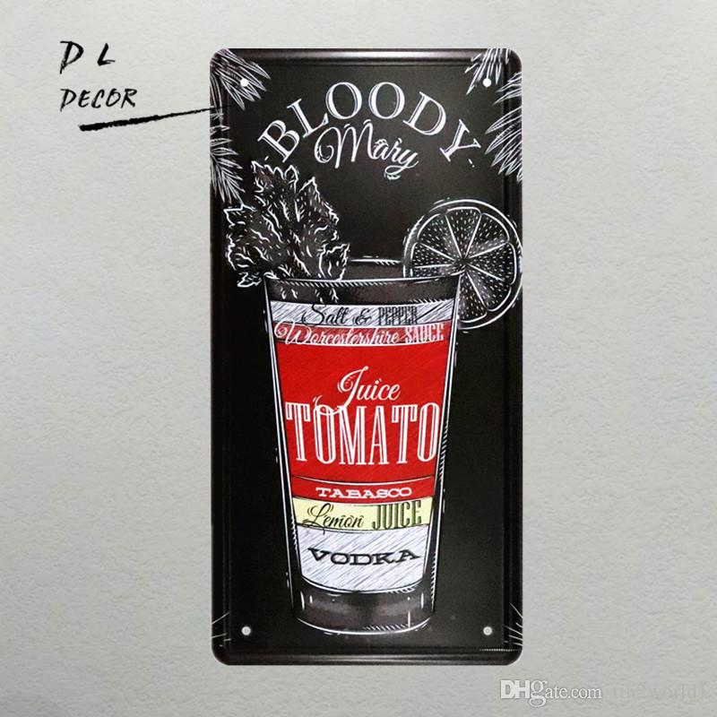 DL-BLOODY Mary License plate vintage Cocktail poster bar club pub wall decor bar art painting