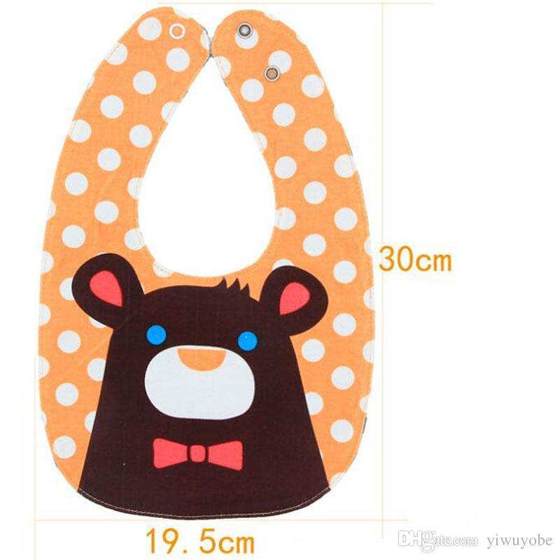 New designs cotton baby bibs double side use four layer waterproof burp cloth infant cartoon feeding bibs