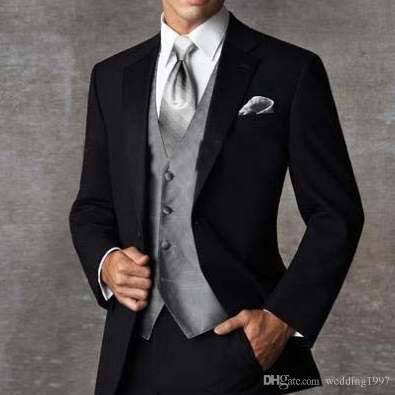 2018 Three Piece Black Groom Wedding Txuedos Notched Lapel Custom Made Business Party Men Suits Jacket + Gray Vest + Pants