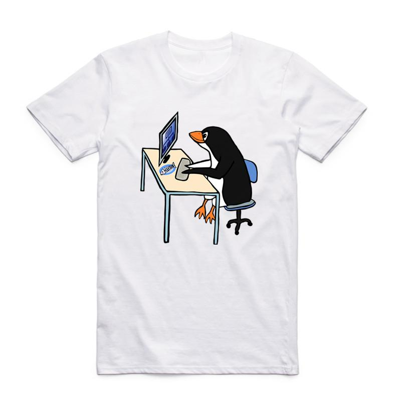 Men Funny Print The LINUX Penguin In A Computer Fashion T Shirt Short Sleeves O Neck Summer Casual Cool T-shirt
