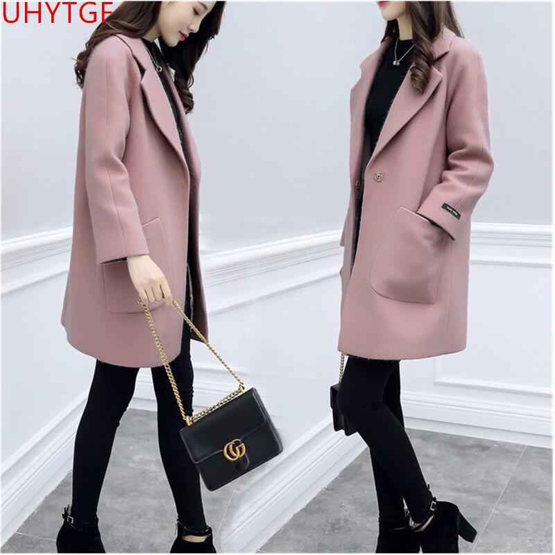 3e63934e4 Compre Moda Outono Inverno Mulheres Elegantes Casacos Casaco De Lã Casaco  Novo Das Mulheres Roupas Tamanho Grande Adequado Para As Mulheres Casacos  De Lã ...