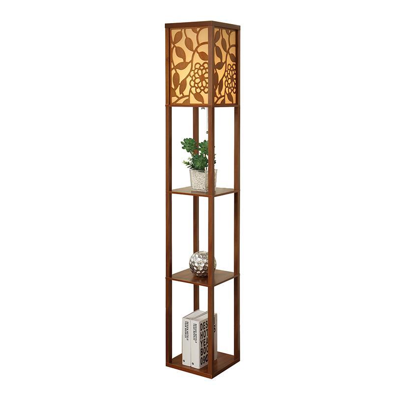 High Quality Creative Chinese Style Floor Lamp De Pie Vertical Wooden Floor Light For Living Room Standing Lamp Indoor Lighting