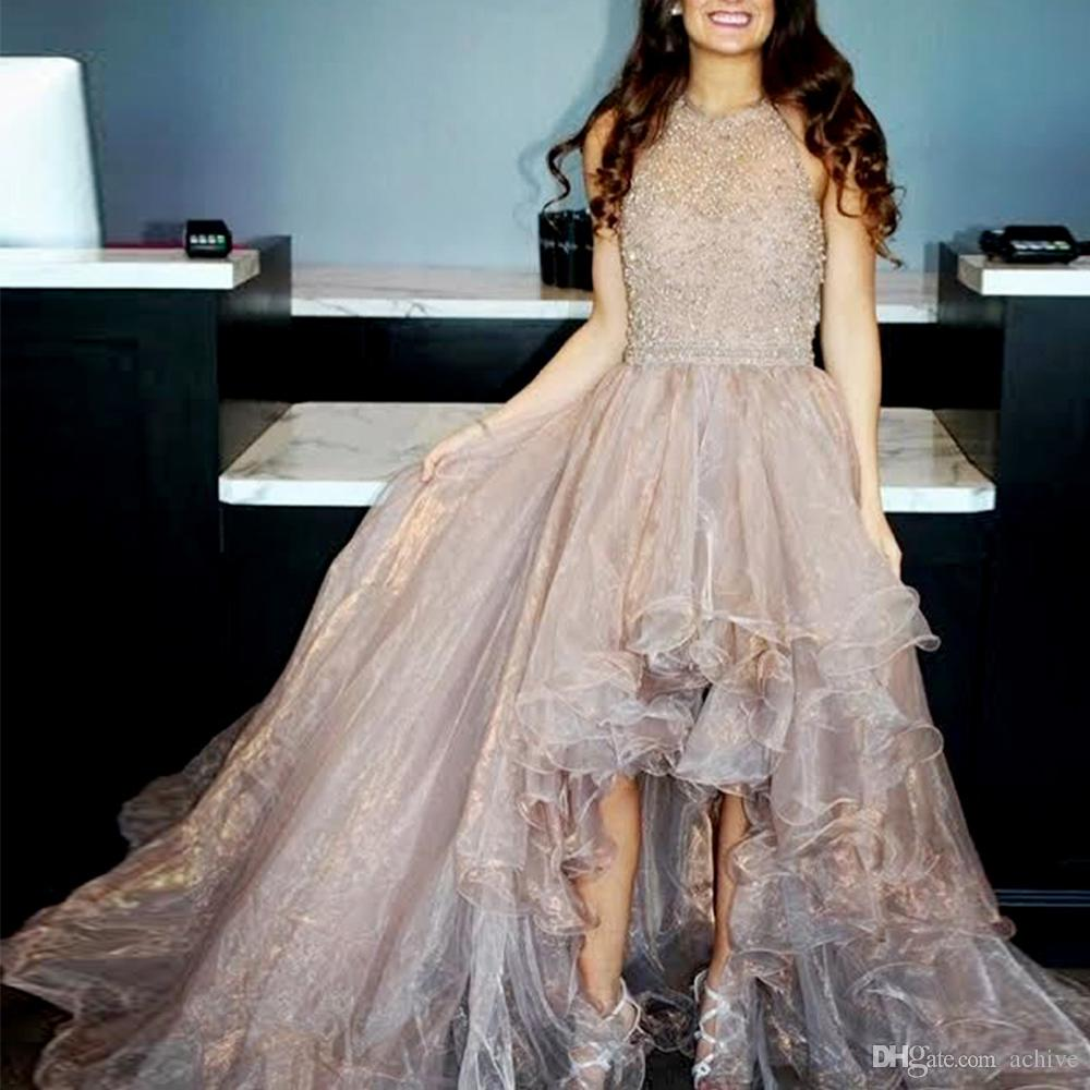 Gorgeous Heavy Beaded High Low Prom Dresses 2020 Stylish Organza Puffy Evening Party Gowns Sexy Homecoming Dresses USA UK Graduation Dress