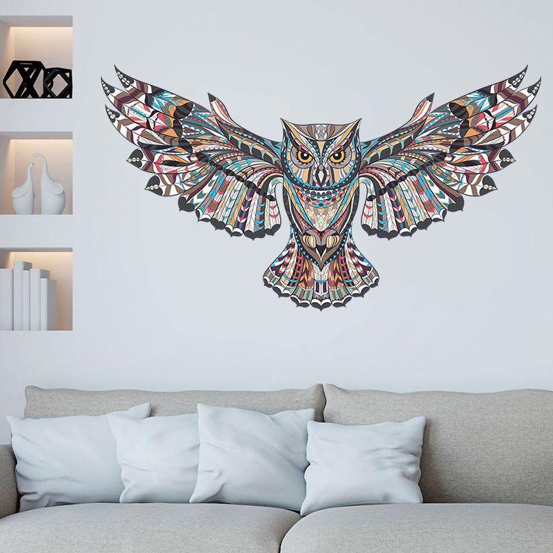 Extraíble Búho Colorido Niños Salas de Guardería Decoraciones Tatuajes de Pared Aves Animales Volando Vinilo Pegatinas de Pared Decoración Autoadhesiva