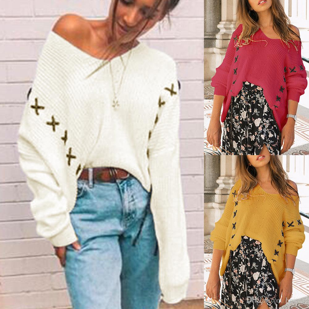 2019 2018 Autumn And Winter Japan And Korea Fashion V Neck Long Sleeve  Sweater Top Three Color Women S Clothing New Stock From Huanxl a84ffd018