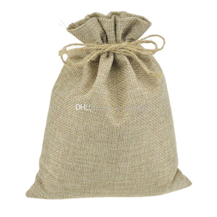 Linen Drawstring Bags Wedding Favor Craft DIY Christmas Home Party Gift Bag 7*9cm 8*11cm 9*12cm 10*15cm