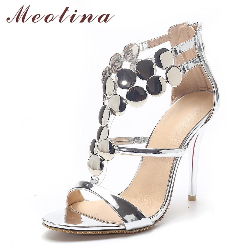 Meotina Ladies Shoes 2017 Summer Gladiator Sandals Women High Heels ... 7a9352062a02