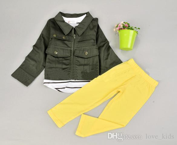 Fashion kids spring autumn outfits baby girls long sleeve coat+striped T-shirt+kids pants clothes fit kids baby 1-7T