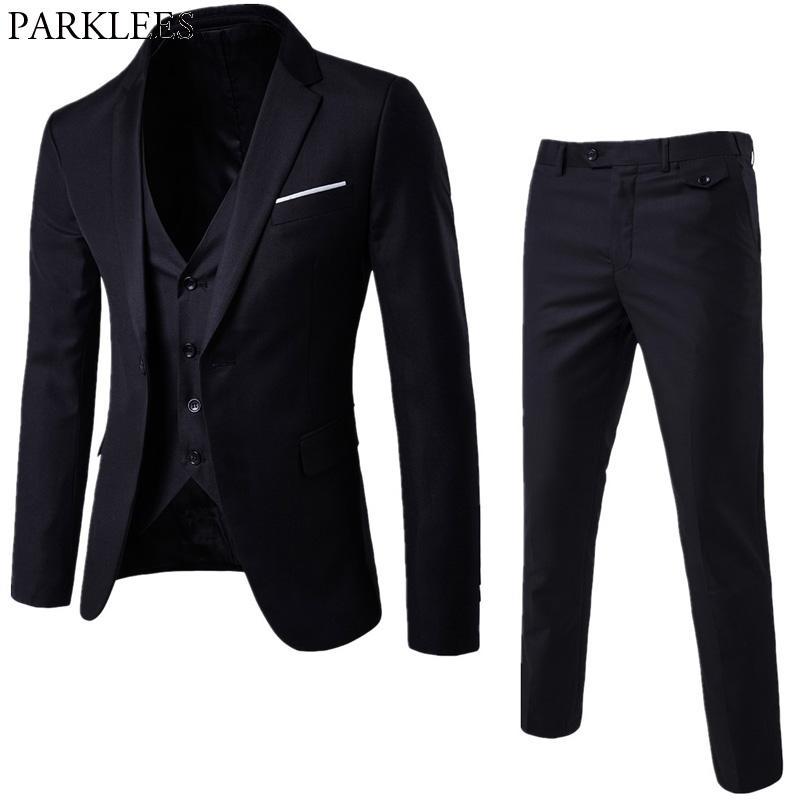 Compre Chaqueta + Pantalones + Chaleco Traje Negro Hombres 2018 Primavera  Nuevo 3 Piezas Traje Para Hombre Slim Fit Trajes De Negocios De Boda Traje  De ... 028e06a6d25
