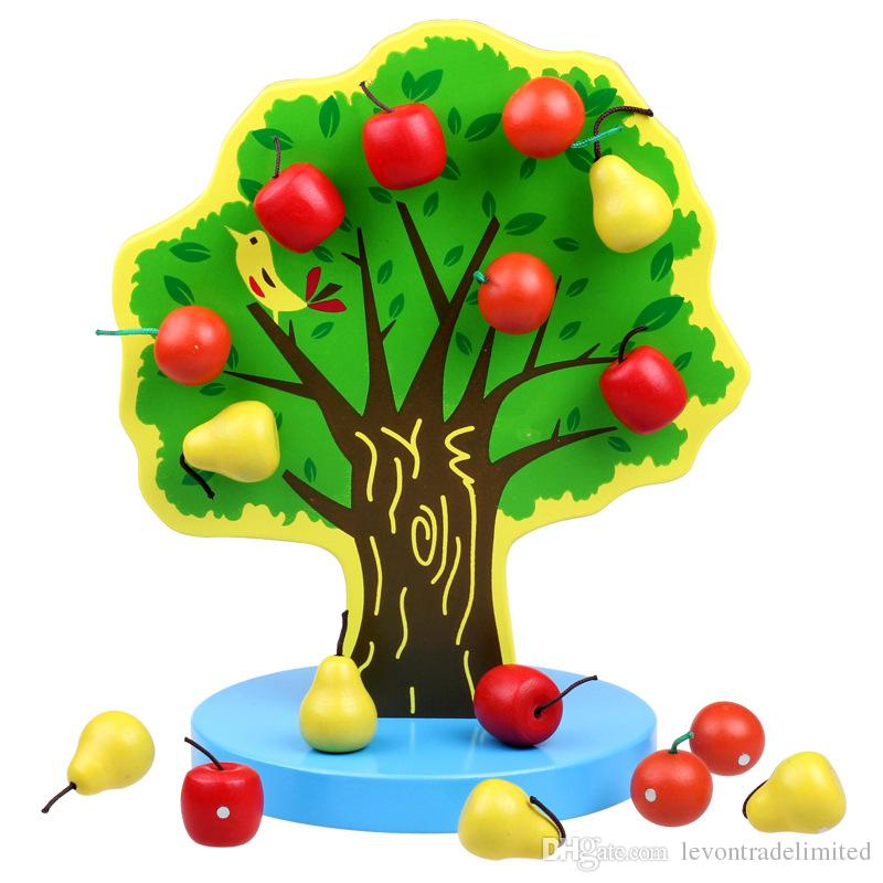 New Wooden Baby Toy Magnetic Simulation Fruit Tree Apple ...