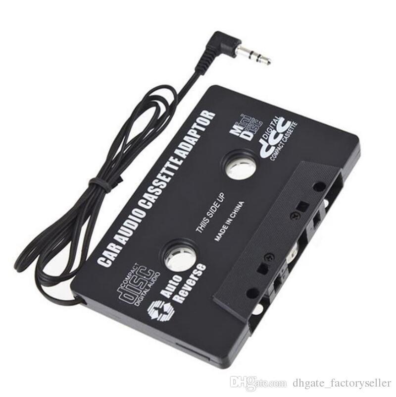 Adaptador de adaptador de conector Jack de cinta de cassette para coche negro para adaptador de enchufe de radio para radio MP3, teléfono celular LX2351