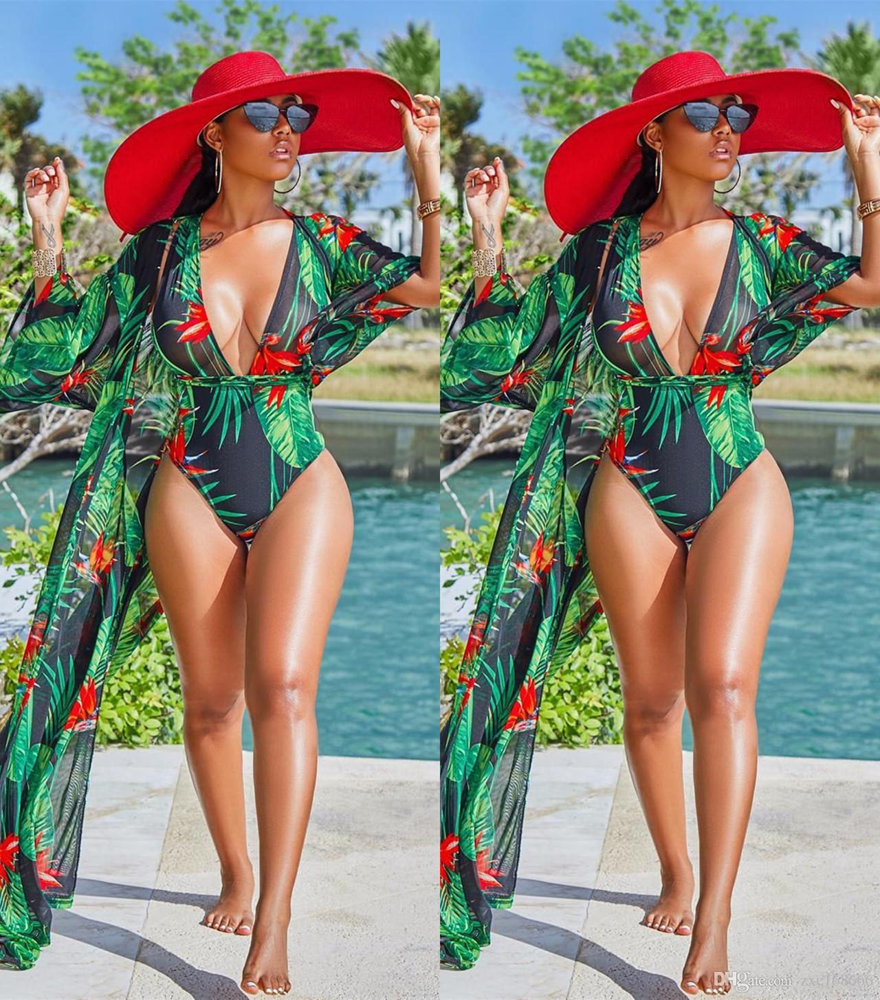 Bikini con estampado de flores verdes y hojas verdes Traje de baño con escote en V profundo + Vestido largo de playa Cubre Bikinis de dos piezas con traje de baño sexy para mujeres