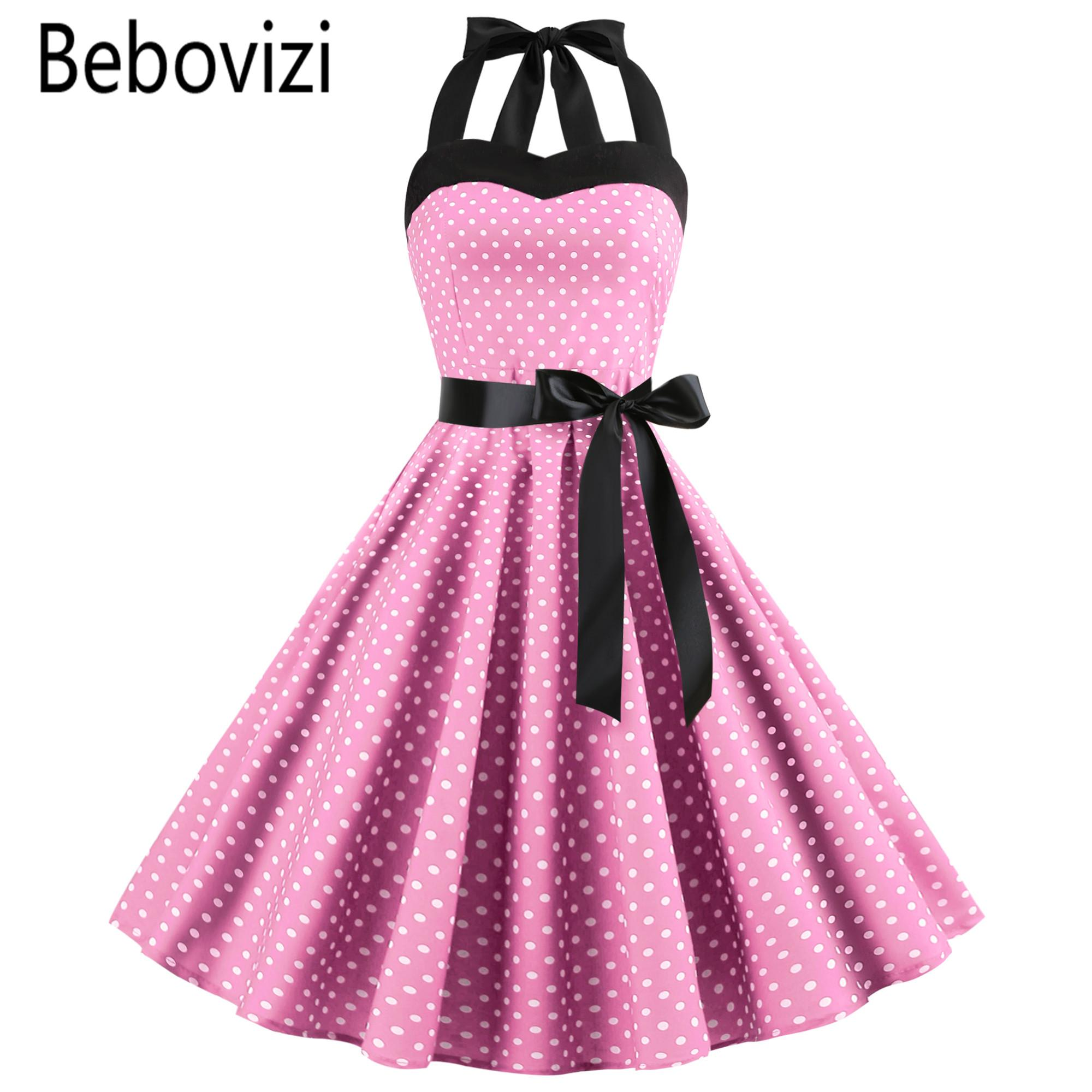 a75be071963 New 2019 Pink Midi Dress Retro Polka Dot Hepburn Vintage 50s 60s Halter  Party Dress Pin Up Rockabilly Dresses Robe Plus Size Women Floral Dress  Ladies Nice ...