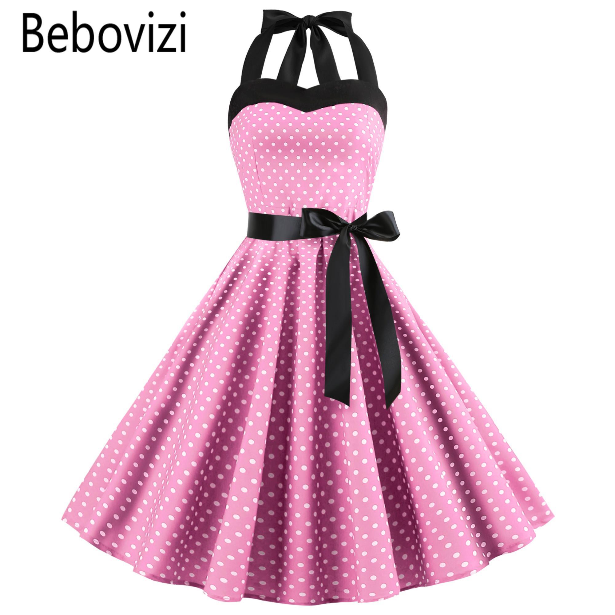 8e4a8ba25de51 Nouveau 2019 Rose Midi Robe Retro Polka Dot Hepburn Vintage Années 50  Années 60 Halter Party Dress Pin Up Rockabilly Robes Robe Robe Plus La  Taille