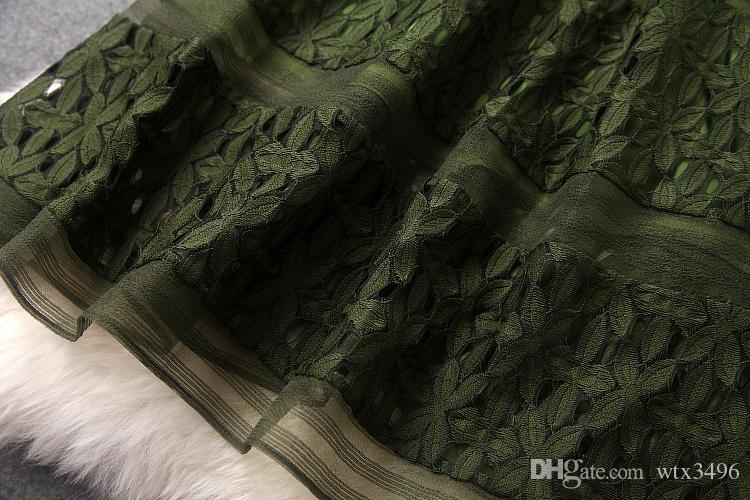 Grenadine vestido de renda das mulheres início Da Primavera novo estilo gola redonda com painéis de comprimento médio de uma peça vestido de cor pura primavera vestido