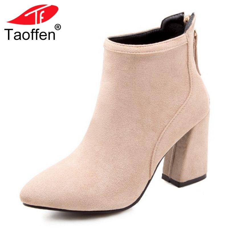 bce161afc Compre TAOFFEN Tamanho 33 43 Mulheres Botas De Salto Alto Tornozelo Dedo  Apontado Zipper Senhoras Botas De Moda Sapatos Elegantes Mulher Curto De  Keyhess, ...