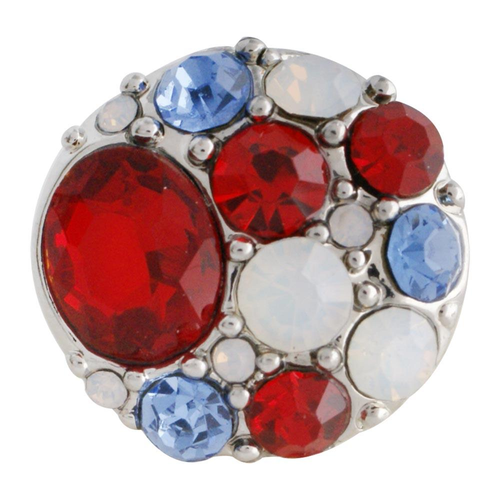 Partnerbeads ODM OEM Red Pink White Crystal Snap Button Jewelry 18mm Beads for Women Charm Bracelets Wholesale KC7514