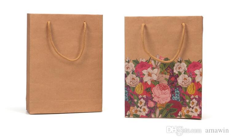 Flower Paper Bag With Handle Shower Wedding Birthday Party Favor Gift Christmas New Year Shopping Package Food Bag
