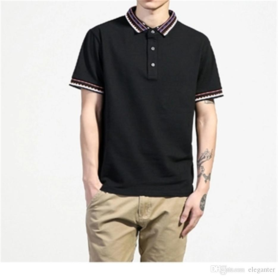 3b245695b9d90 Solid Color Polo Short-sleeved T-shirts Male Fat Plus-size Youth ...