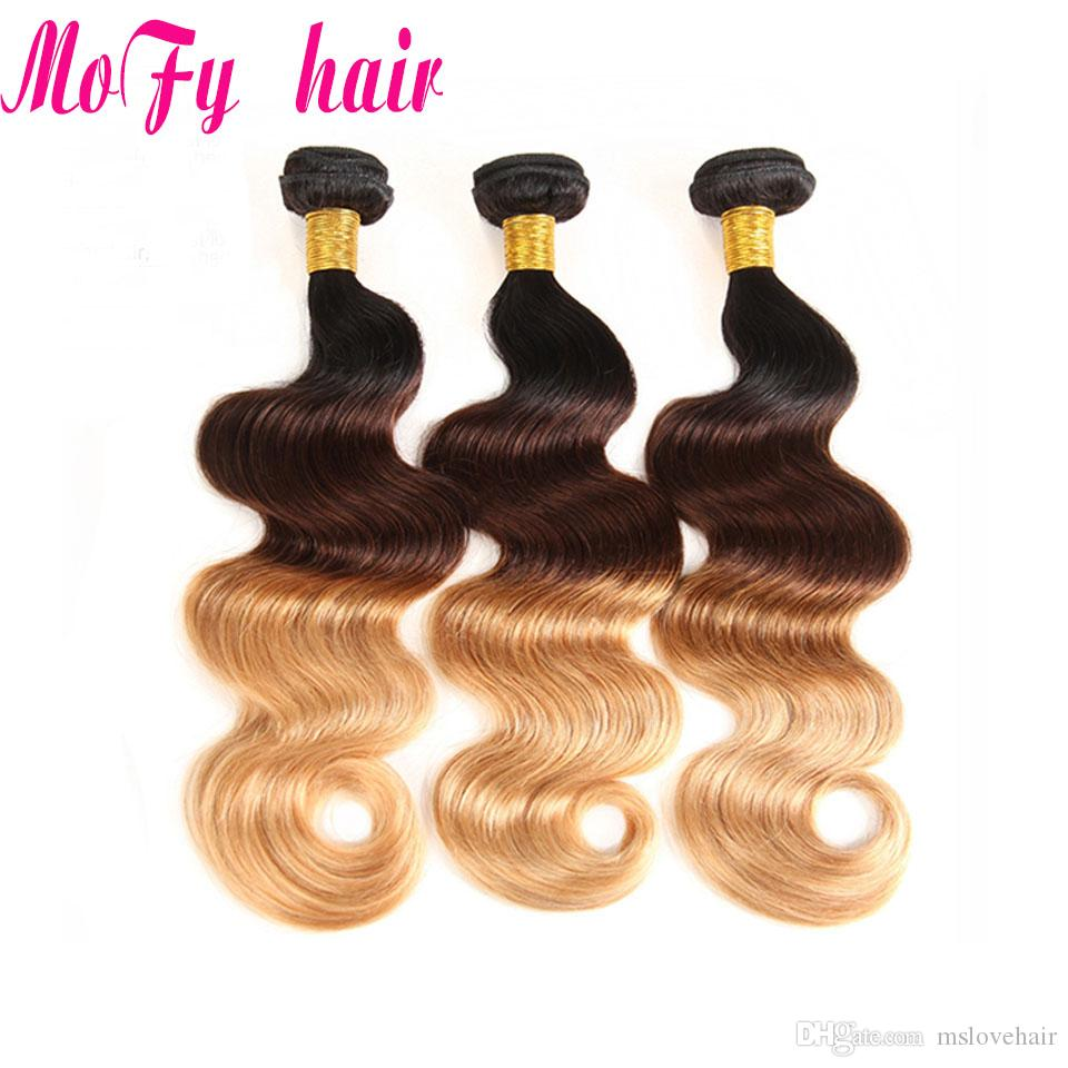 Ombre Brazilian Body Wave Hair Weave Bundles 1b/4/27 Blonde Non Remy Human Hair Extensions Light Brown Colored Hair