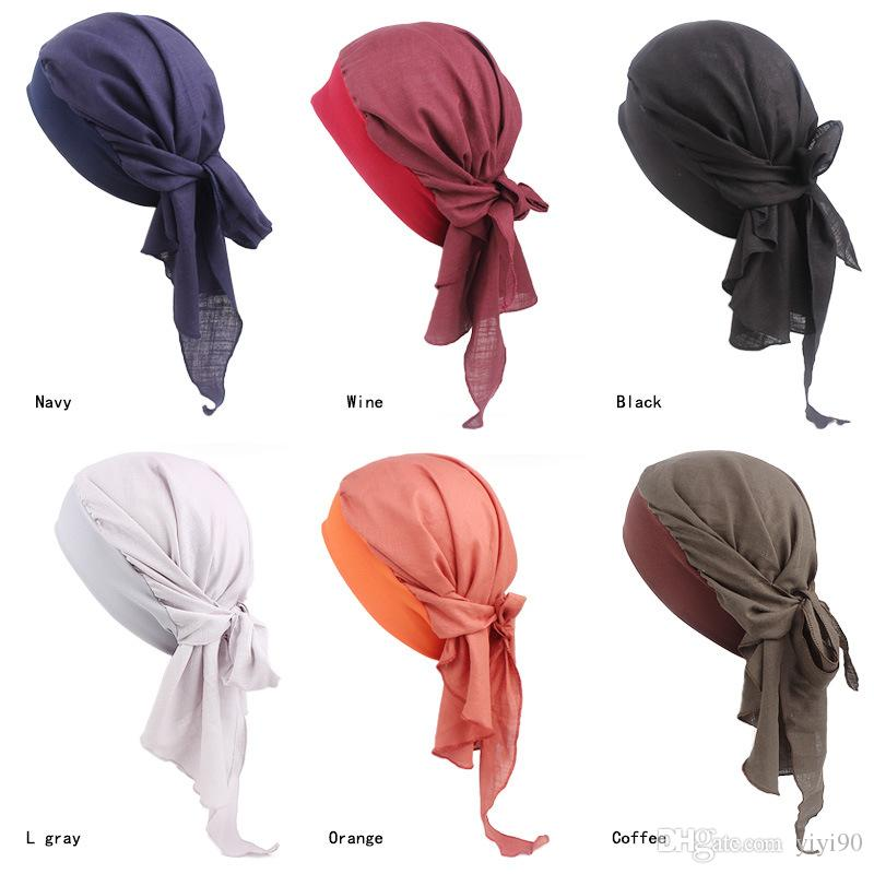 Muslim Women Stretchy Cotton Pre-Tied headscarf Turban Hat Headwear headwrap Plated Chemo Beanies Cap Skull Hair Loss Protector Accessories