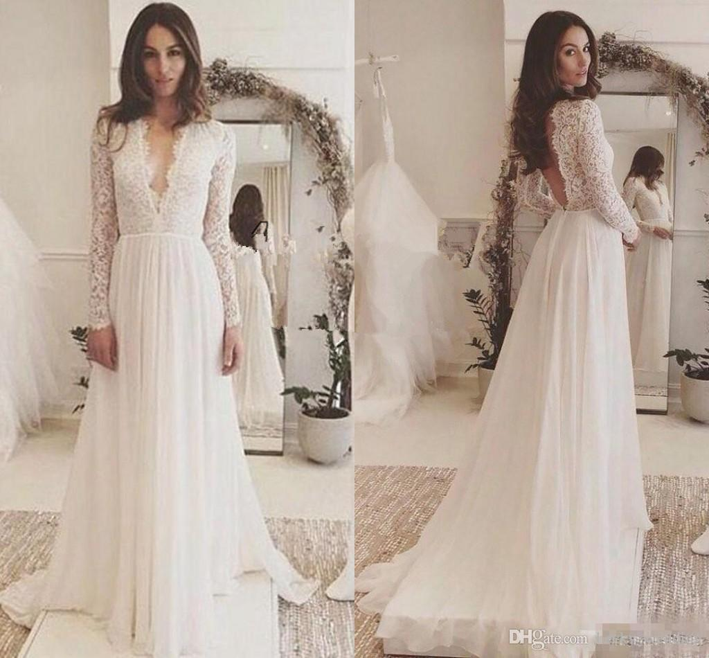 7cfc65ad94809 Discount 2018 Lace Chiffon Long Sleeve Summer Beach Wedding Dresses A Line  Boho Simple Cheap V Neck Backless Sweep Train Country Wedding Gown Plus  Plus Size ...