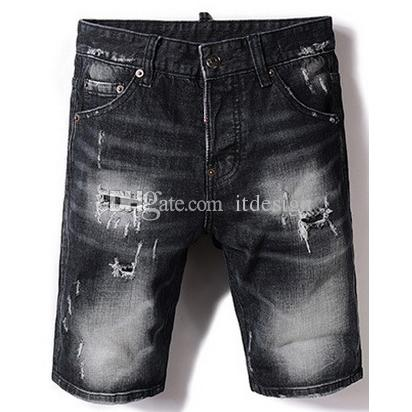 d222d7bfdbc 2019 Black Damaged Denim Shorts Men S Distressed Fade Washed Short Jean  Cool Guy From Itdesign