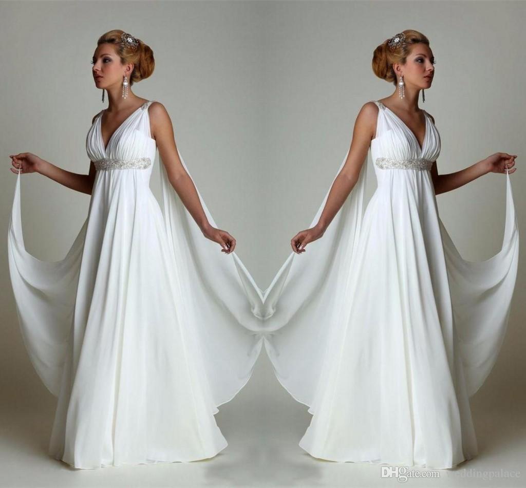 Discount Simple Chiffon Empire Waist Beach Wedding Dresses