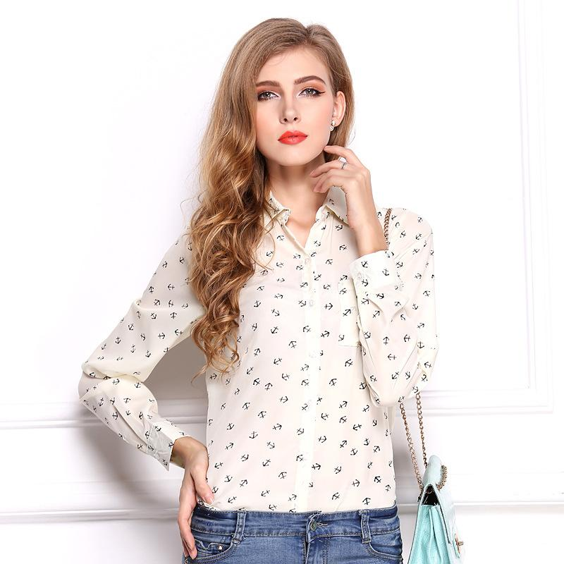 1f383f420e424 2019 New Fashion Polka Dot Printed Blouse Shirt Women Long Sleeve Cotton  Work Wear Blouses White Print Blusa Feminina Navy Top 2018 From Beatricl