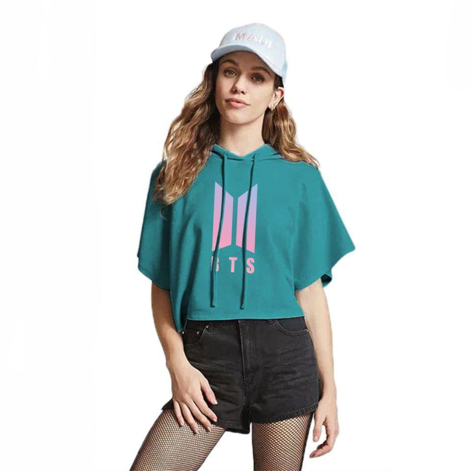 5e0643ba7c1d BTS 2018 New Kpop BTS Summer Crop Top T Shirt Women Men Fashion Hot Sale  Print Short Sleeve Hooded Tshirt Female Cotton Clothes Crazy T Shirt Design  Comedy ...