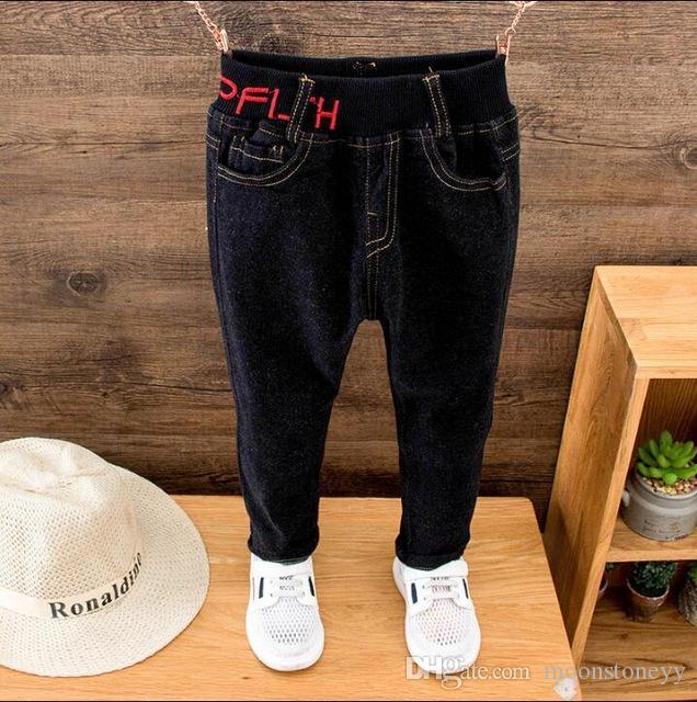 5c335dc56 Kids Boys Denim Jeans New Arrivals Autumn Elastic Waist Straight Children'S  Trousers Casual Kids Solid Pants Clothes Fashion Jeans For Girls Black Jeans  For ...