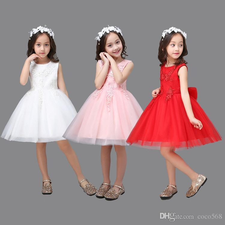 a5bef9ea429c Children's wedding dress new White Princess Dress Girls flower puff cake  skirt 61 show clothing. Store-wide Discount