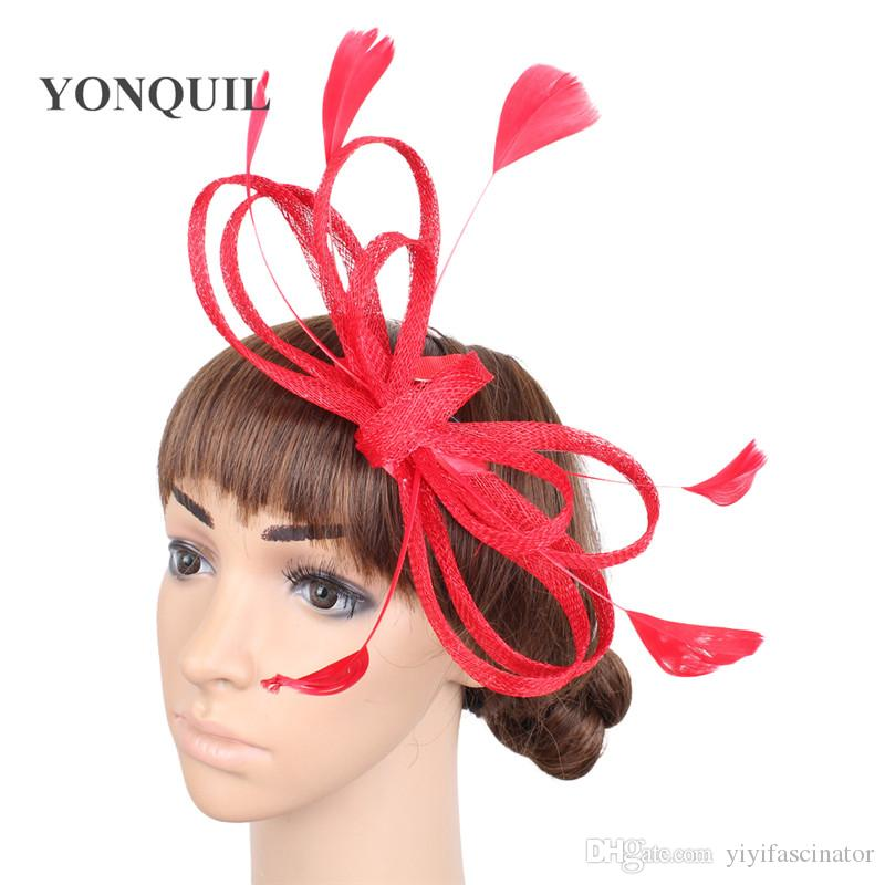 28c725b16a1 Ladies Hair Fascinators Wedding Hats Headbands Navy White Blue Headwear  With Feather Black Hair Accessories Women Hot Pink Event Hats SYF271  Cocktail Hats ...