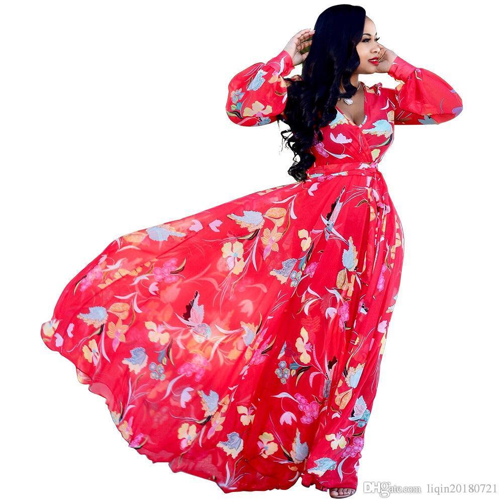 94b3fb2752 Compre Vestido Largo De Manga Larga Con Estampado Floral De Gasa Con ...