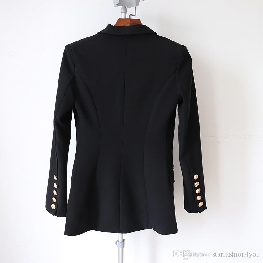 Novo Com Etiqueta Da Marca B Top Quality Design Original das Mulheres Double-Breasted Fino Jaqueta De Metal Fivelas Blazer Retro Xale Collar Outwear