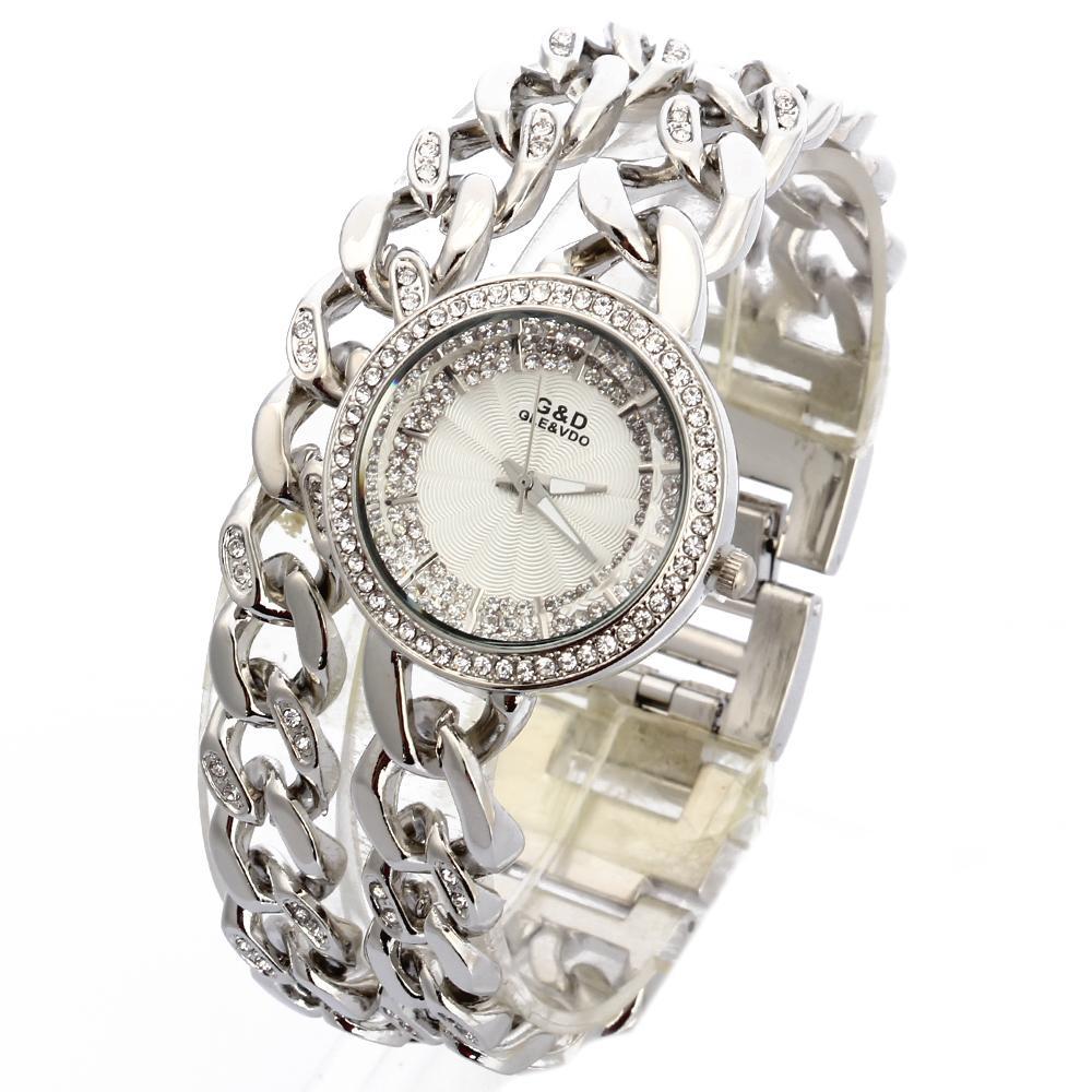 4bb882d80080 Compre GD 2018 Reloj De Pulsera De Lujo De Las Mujeres Relojes De Pulsera  De Cuarzo De Acero Inoxidable De Plata Para Mujer Rhinestone Vestido De  Dama ...