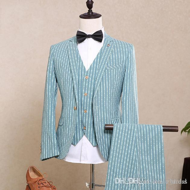 Blue Slim Fit Wedding Tuxedos For Notched Lapel Men Groomsmen Suits ...