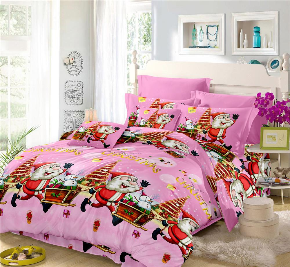 Twin Christmas Bedding Sets.Winter Pink Christmas Bedding Set Polyester Twin Full King Queen Duvet Cover Ladies Sweet Bed Sheets Pillowcase Bed Cover D30