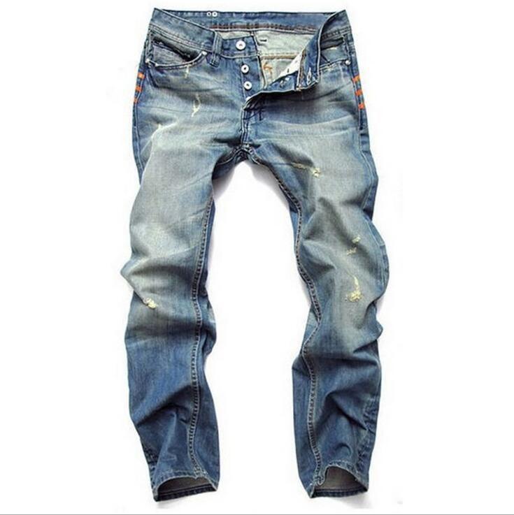 Top Zerrissene Mens Jeans Marke Großhandel Qualität Dünne 543RLjA
