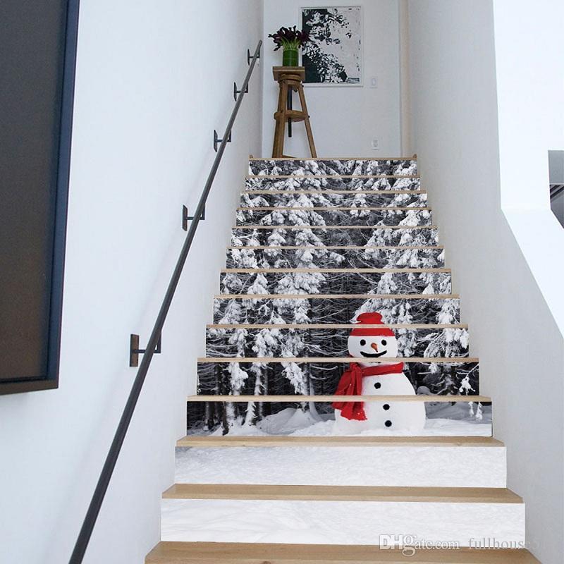 Großhandel 13 Stücke 3d Diy Weihnachten Schneemann Treppen Aufkleber ...